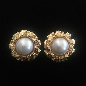 St. John Faux Pearl Gold Tone Clip on Earring